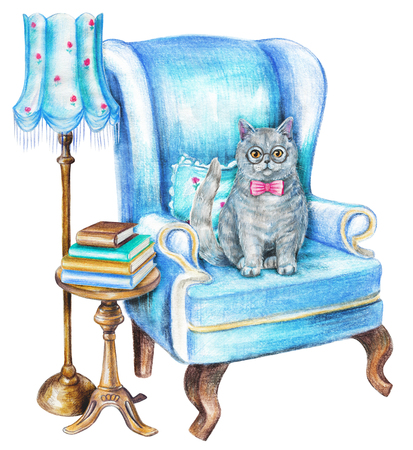 Composition with british cat, chair, floor lamp, armchair and books on white background. Watercolor pencils hand drawn illustration