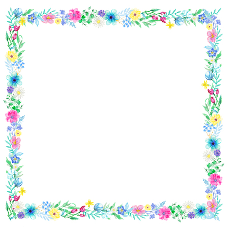 Square frame with flowers and twigs on white background. Watercolor hand drawn illustration