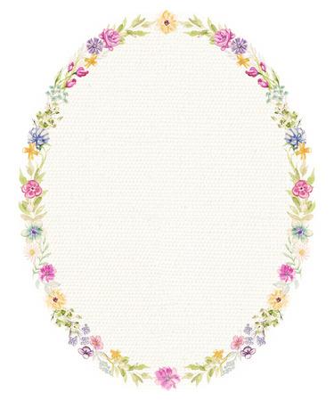 Cadre ovale avec fleurs et brindilles sur fond de tissu beige. Illustration aquarelle dessinée à la main