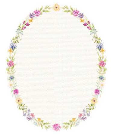 Oval frame with flowers and twigs on beige fabric background. Watercolor hand drawn illustration Imagens