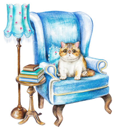 Composition with exotic cat, chair, floor lamp, armchair and books on white background. Watercolor pencils hand drawn illustration Stock fotó
