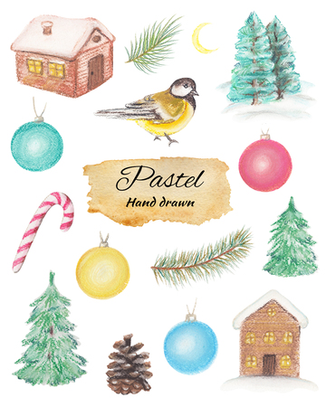 Christmas set with houses, fir-tree, balls, titmouse, snowflakes, spruce branches, moon and cone isolated on white background. Pastel hand drawn illustration Stock Photo