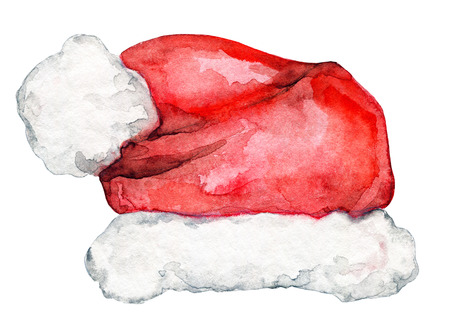 Santa hat isolated on white background. Watercolor hand drawn illustration Stock Photo