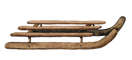 Vintage brown wooden sledges isolated on white background. Watercolor hand drawn illustration Stock Photo