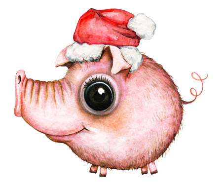 Picture of a pink round pig in a Ð¡hristmas hat on white background. Watercolor hand painted illustration