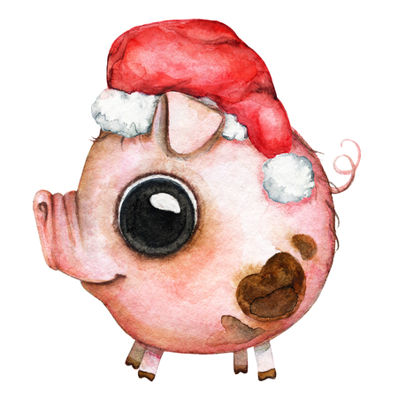Picture of a pink round baby pig with blemishes in a Сhristmas hat on white background. Watercolor hand painted illustration