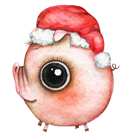 Picture of a pink round baby pig in a �¡hristmas hat on white background. Watercolor hand painted illustration