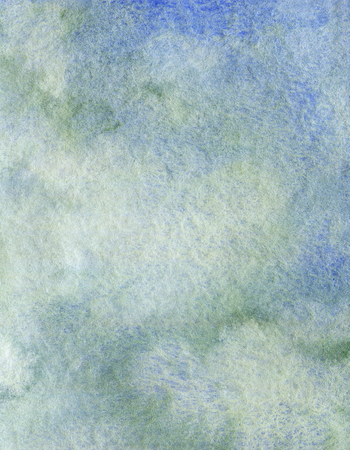 Blue and gray gradient background texture. Watercolor hand drawn illustration. Shades of blue and gray watercolour stains