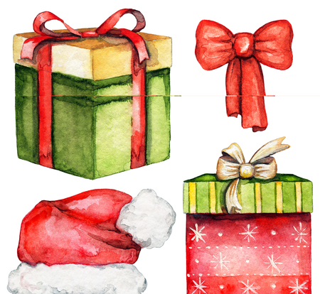 Set with two boxes with Christmas gifts, Santa Claus hat and red bow isolated on white background. Watercolor hand drawn illustration Stock Photo