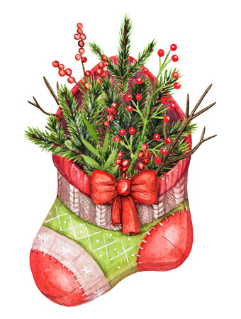 Christmas red sock with Christmas tree branches and berries isolated on white background. Watercolor hand drawn illustration