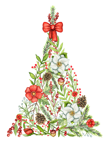 Triangular Christmas tree with flowers, berries, branches, cones and bow isolated on white background. Watercolor hand drawn illustration
