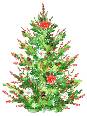 Christmas tree with flowers, berries and cones isolated on white background. Watercolor hand drawn illustration