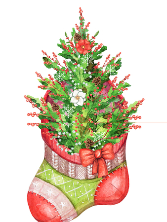 Christmas red sock with decorated Christmas tree isolated on white background. Watercolor hand drawn illustration
