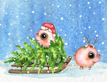 Christmas composition with two small piglets, sleigh, snow and Christmas tree isolated on sky in snowflakes background. Watercolor hand drawn illustration