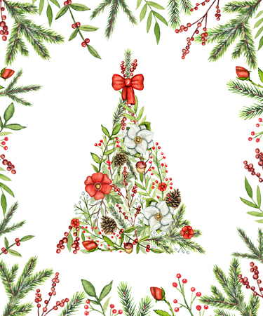 Triangular Christmas tree with flowers, berries, branches, cones and bow in a frame isolated on white background. Watercolor hand drawn illustration