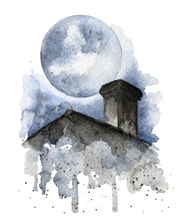 Composition with a roof top of the house over a dark background. Watercolor hand drawing illustration Stok Fotoğraf