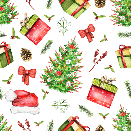 Seamless pattern with Christmas tree, Santa's cap, gift box, branches, cones, bow and berries isolated on white background. Watercolor hand drawn illustration 版權商用圖片