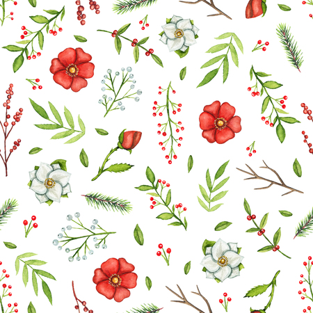 Seamless pattern with Christmas branches, flowers, berries and twigs isolated on white background. Watercolor hand drawn illustration Stockfoto
