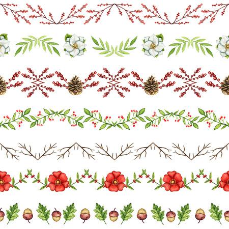 Patrón sin fisuras con bordes de Navidad sobre fondo blanco. Ilustración de dibujado a mano de acuarela. Foto de archivo