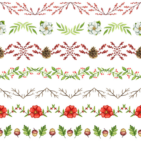 Seamless pattern with Christmas borders on white background. Watercolor hand drawn illustration.