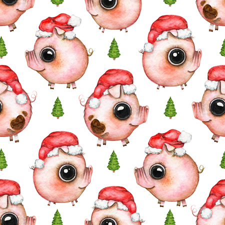 Seamless pattern with Christmas tree and pigs in Santas caps isolated on white background. Watercolor hand drawn illustration