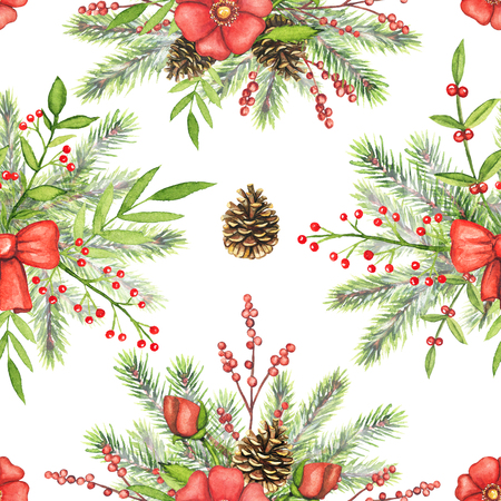Seamless pattern with Christmas branches, flowers, berries, cones, twigs and floral compositions isolated on white background. Watercolor hand drawn illustration
