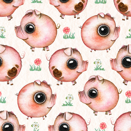 Seamless pattern with cartoon pigs and flowers isolated on beige paper texture background. Watercolor hand drawn illustration Stock Photo