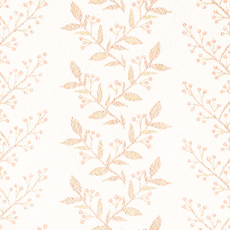 Seamless pattern with monophonic branches, berries and twigs on beige paper texture  background. Watercolor hand drawn illustration 写真素材