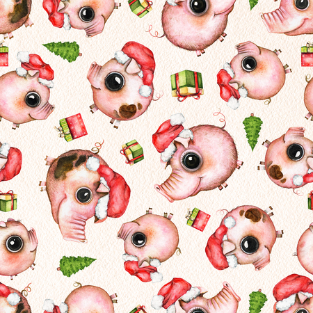 Seamless pattern with Christmas tree, gift boxes and pigs in Santas caps isolated on beige paper texture background. Watercolor hand drawn illustration Stockfoto