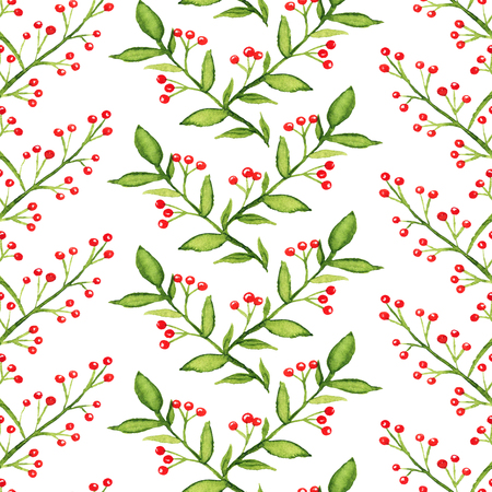 Seamless pattern with green branches and red berries on white background. Watercolor hand drawn illustration 写真素材