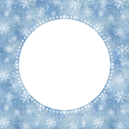 Round frame with blue gradient background and snowflakes. Watercolor hand drawn illustration