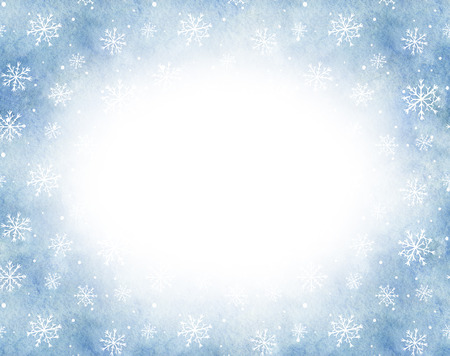 Oval frame with blue gradient background and snowflakes. Watercolor hand drawn illustration. Shades of blue and gray watercolor stains Stock Photo