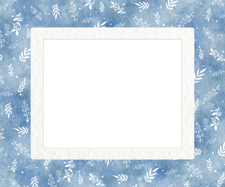 Rectangular frame with blue gradient winter background and white twigs. Watercolor hand drawn illustration Stock Photo