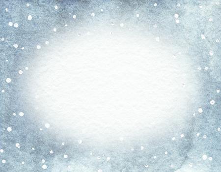 Cadre ovale avec fond dégradé bleu et flocons de neige. Illustration dessinée à la main à l'aquarelle. Nuances de taches d'aquarelle bleues et grises