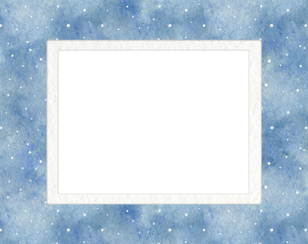 Rectangular frame with blue gradient background and snowflakes. Watercolor hand drawn illustration. Shades of blue and gray watercolor stains