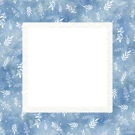 Square frame with blue gradient winter background and white twigs. Watercolor hand drawn illustration