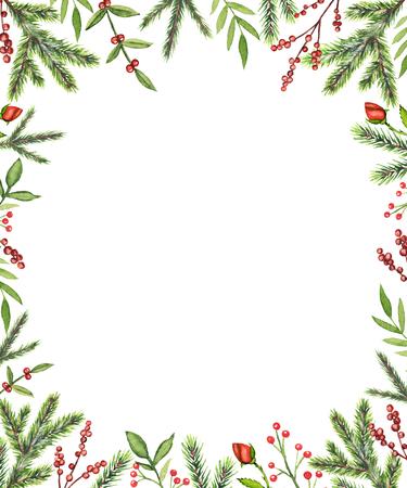 Marco rectangular con ramas de Navidad, bayas, rosas y ramitas aisladas sobre fondo blanco. Ilustración de dibujado a mano de acuarela