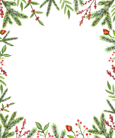 Rectangular frame with Christmas branches, berries, roses and twigs isolated on white background. Watercolor hand drawn illustration Foto de archivo
