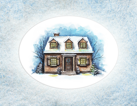 Winter old house, cottage with trees in the frame of textured paper. Watercolor hand drawn illustration Reklamní fotografie
