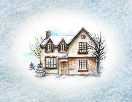 Winter old house, cottage with trees in the frame of textured paper. Watercolor hand drawn illustration Stok Fotoğraf