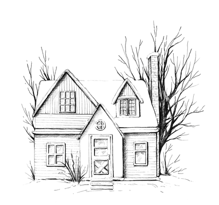 Winter old house, cottage with trees in the snow. Graphic hand drawn illustration Stock Illustration - 110619895
