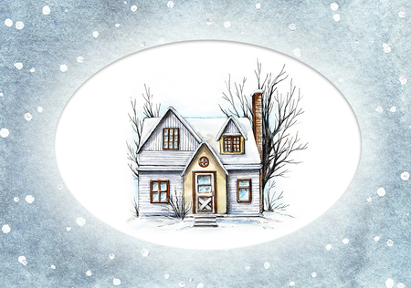Winter old house, cottage with trees in the snowy frame. Watercolor hand drawn illustration