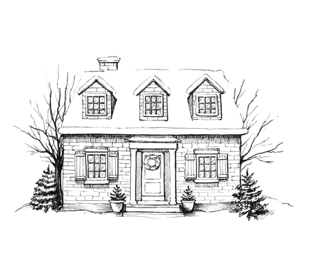 Winter old house, cottage with trees in the snow. Graphic hand drawn illustration