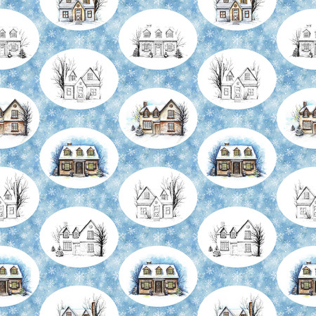 Seamless pattern with winter houses on snowy background. Watercolor hand drawn illustration Stock Photo