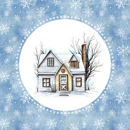 Winter old house, cottage with trees in the round snowy frame. Watercolor hand drawn illustration