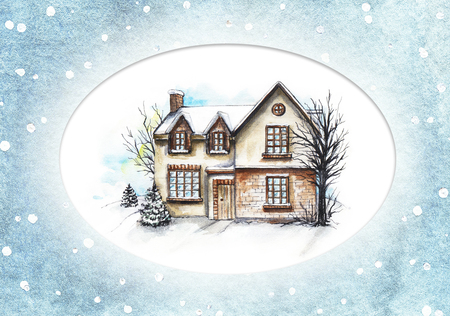 Winter old house, cottage with trees in the snowy oval frame. Watercolor hand drawn illustration Reklamní fotografie