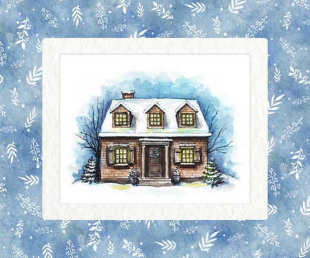 Winter old house, cottage with trees in the rectangle frame of textured paper. Watercolor hand drawn illustration Stock Photo
