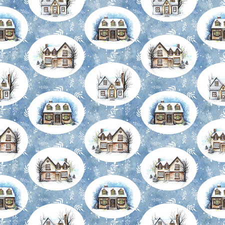 Seamless pattern with three winter houses on snowy background. Watercolor hand drawn illustration