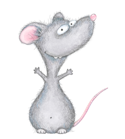 Cartoon mouse opens embrace. Digital illustration isolated on white background