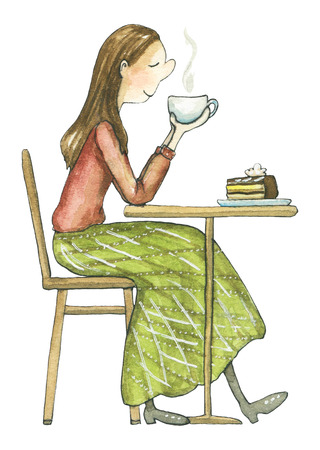 The girl sits at the table and drinks hot drink in a cafe isolated on white background. Watercolor hand drawn illustration